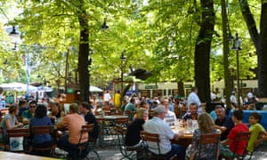 People drinking at Augustiner biergarten