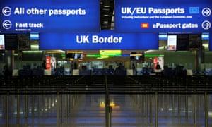 UK border control at Heathrow Terminal 2