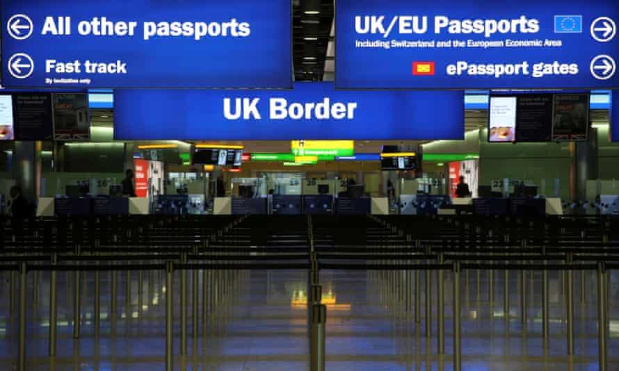 UK Border control is seen in Terminal 2 at Heathrow