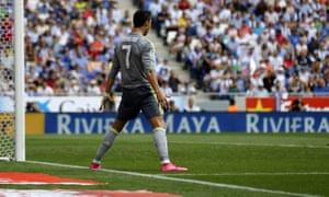 Cristiano Ronaldo celebrates at Espanyol.