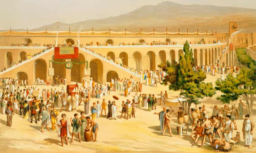 A reproduction of the market square, from The Houses and Monuments of Pompeii, by Fausto and Felice Niccolini, 1854-96.