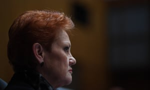 One Nation Senator Pauline Hanson during Senate estimates at Parliament House in Canberra 25 May 2017