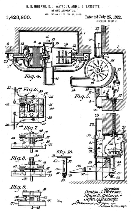 The Airdry corporation's 1922 patent for a wall-mounted hand-drying machine.