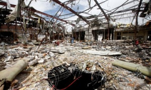 The remains of a community hall in Sana'a, Yemen, that was hit in a Saudi airstrike during a funeral, killing 140 people.