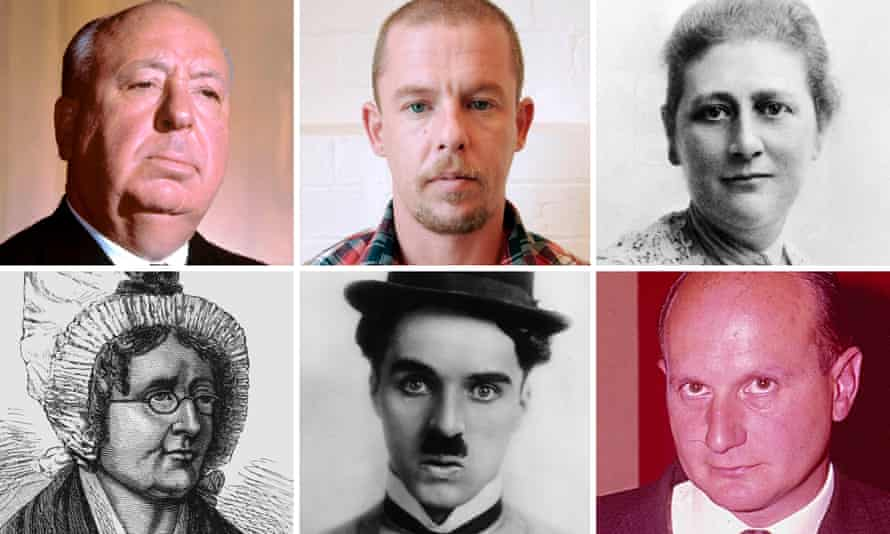 The next face of the £20 note? Clockwise from top left, Alfred Hitchcock, Alexander McQueen, Beatrix Potter, Gerry Anderson, Charlie Chaplin, Marie Tussaud.