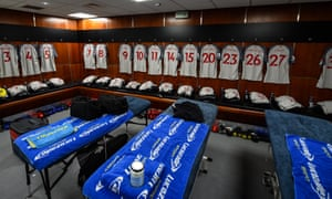 The away dressing room at Old Trafford