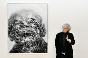 London, UK. British artist Maggi Hambling with her artwork Laughing, 2018, at the preview for her new exhibition at Marlborough Gallery