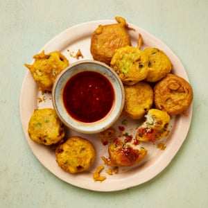 Yotam Ottolenghi's mixed vegetable and potato fritters with harissa