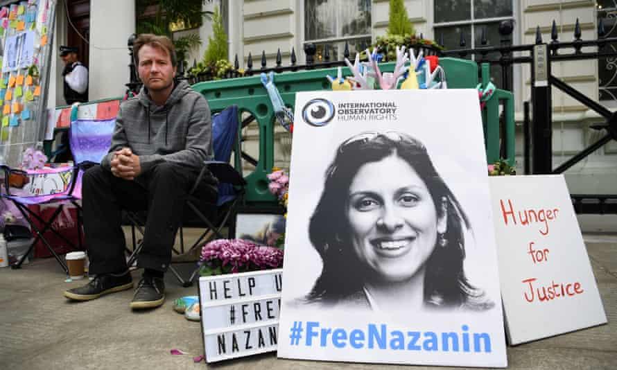 Nazanin Zaghari-Ratcliffe's husband, Richard Ratcliffe, protesting outside the Iranian embassy in London.