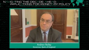 Andrew Bailey was speaking via video link on monetary policy.