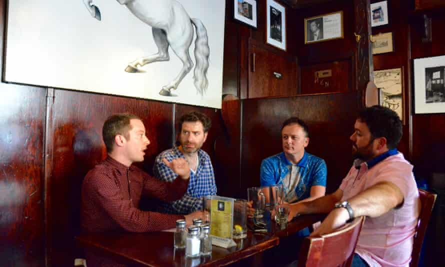 Elijah Wood, Tom Roston, Andy Goddard and Celyn Jones at the White Horse Tavern, New York