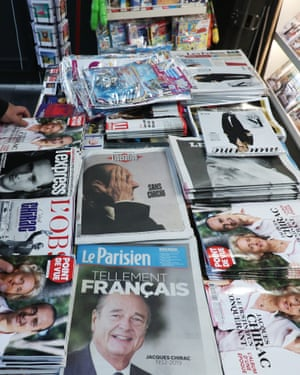 Friday's editions of French newspapers and magazines pay tribute to Jacques Chirac.