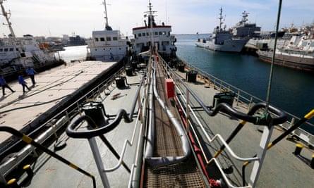 An oil tanker in Tripoli