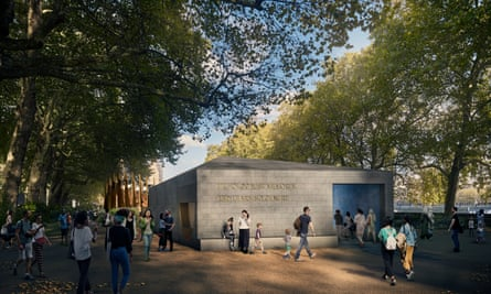 A computer-generated image of David Adjaye's design for the holocaust memorial and museum next to parliament