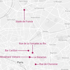A Guardian graphic shows the six locations where the Paris attacks took place
