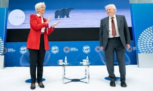 David Attenborough and Christine Lagarde at the International Monetary Fund spring meeting in April 2019.