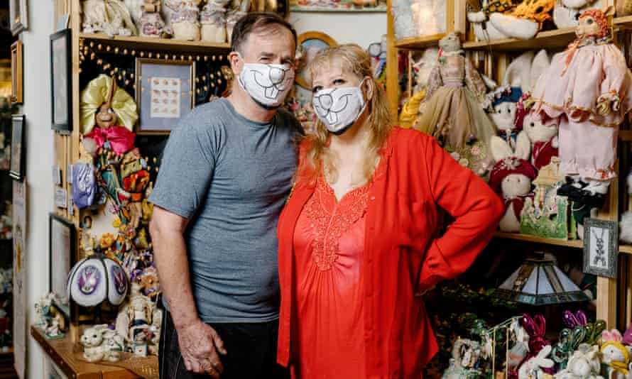 What's up?: Candace Frazee and her husband Steve at the Bunny Museum, which they opened 23 years ago.