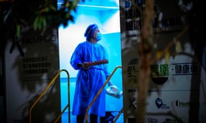 A health worker in Kowloon, Hong Kong.