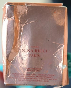 The counterfeit Nina Ricci packaging recovered from Charlie Rowley's address