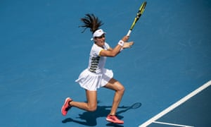 Johanna Konta plays a forehand during her last match at the Australian Open, a first-round defeat to Ons Jabeur in January.
