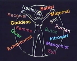 A screengrab from The Sluts and Goddesses Video Workshop (1992) by Annie Sprinkle and Maria Beatty