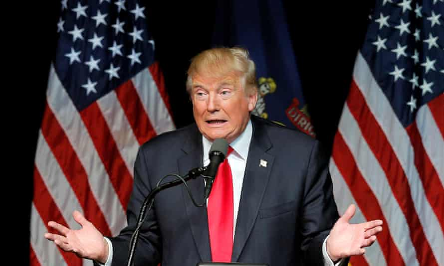 U.S. Republican presidential candidate Donald Trump speaks at a campaign rally in Bangor, Maine, June 29, 2016.