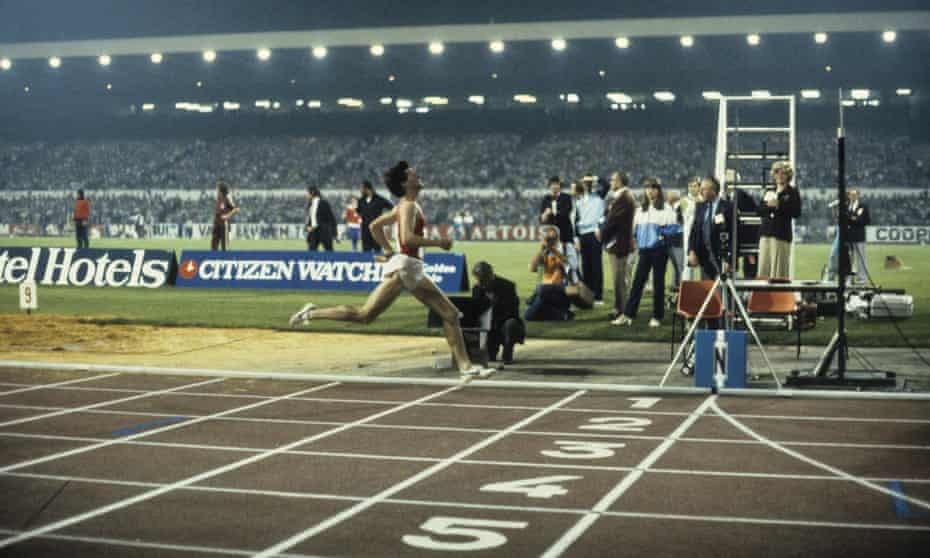 Sebastian Coe breaking the world mile record at the 1981 Golden Mile in Brussels