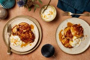 Yotam Ottolenghi's ricotta and feta pancakes with orange sultanas.