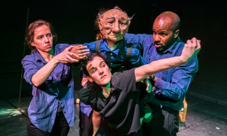 Wonderfully whimsical … puppeteer Adam Courting, right, with Aurora Adams and Piedad Albarracin Seiquer in Dark Matter.