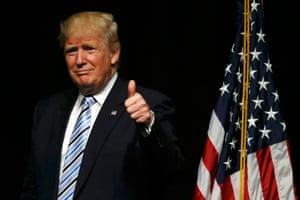 Donald Trump gestures to supporters while speaking in Bismarck, North Dakota.