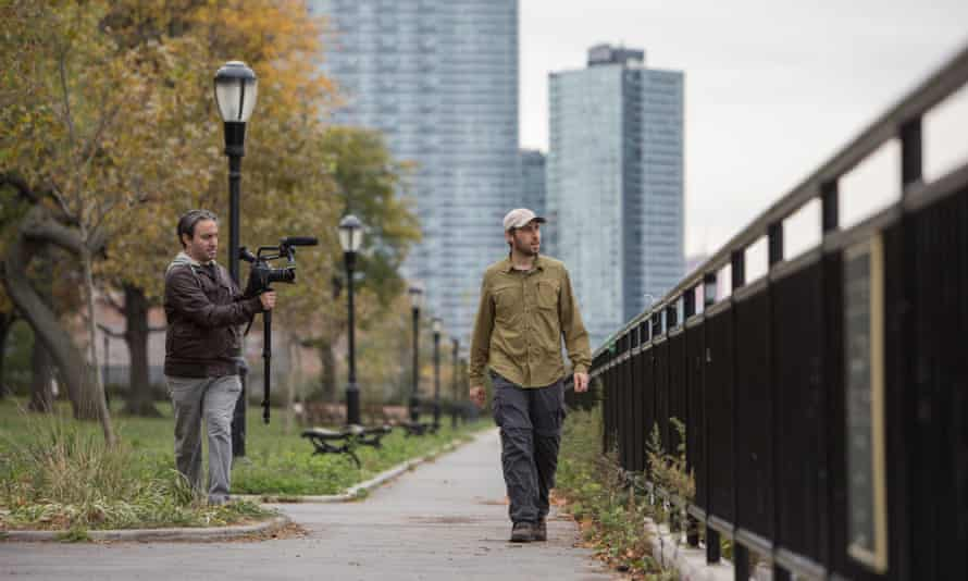 Director Jeremy Workman films Matt Green in Long Island City, Queens, for The World Before Your Feet.