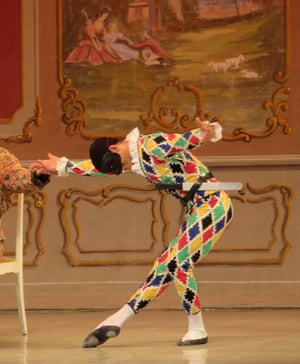 Harlequin takes a bow'Skeleton Harlequin' is the oldest pantomime ballet performed at the Pantomime Theratre in Tivoli Gardens, Copenhagen Photograph: PamBurrow/GuardianWitness