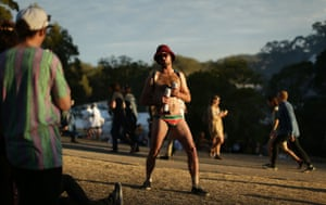 Budgie smugglers and beers: a festivalgoer clutches the essentials