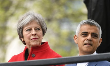 """'In 2016, Theresa May claimed Sadiq Khan was unfit to be mayor """"at a time when we face a significant threat from terrorism"""".'"""