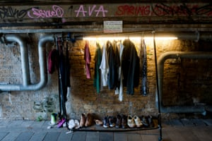 A clothes rail for donated items stands inside the tunnel in Deptford