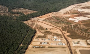 aerial view showing logged area of whitehaven's maules creek coalmine development