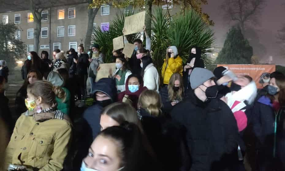 Protests earlier this month at the University of Manchester's Fallowfield campus, after fences were erected around the halls of residence.