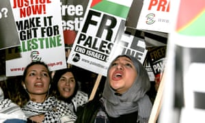 Protest outside the American embassy in London against US recognition of Jerusalem as Israel's capital.