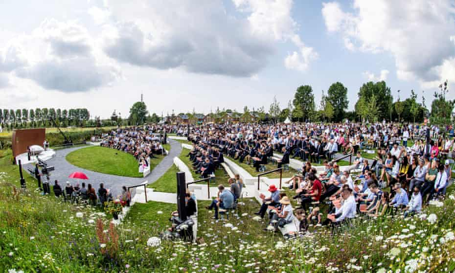 Relatives attend a ceremony in memory of the victims, in the Netherlands, on the fifth anniversary of the their deaths.
