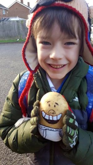 Rowan, 7, Nottinghamshire with his Captain Underpants potato