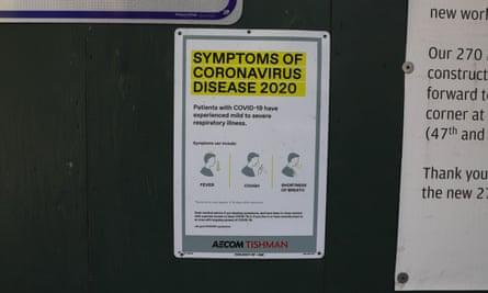 A coronavirus warning in New York City on 2 May.