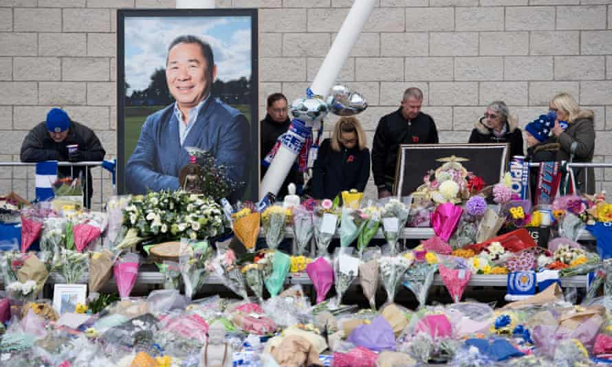 Tributes to Leicester City owner Vichai Srivaddhanaprabha at the King Power stadium, 30 October 2018.