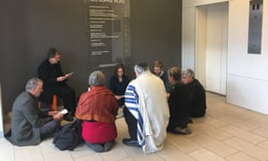 Rabbi Jonathan Keren-Black is joined by seven other religious leaders occupying Josh Frydenberg's office in Melbourne.