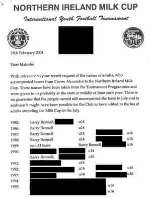 A letter written by the organisers of the Northern Ireland Milk Cup names Crewe as being represented by an under-14s' side in every year bar one from 1985 to 1995.