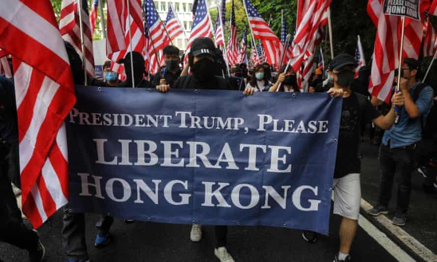 Protesters called on Donald Trump and Washington to 'liberate' Hong Kong.