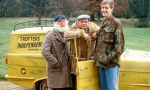 Buster Merryfield as Uncle Albert, David Jason as Del Boy Trotter and Nicholas Lyndhurst as Rodney Trotter in the comedy sitcom Only Fools and Horses