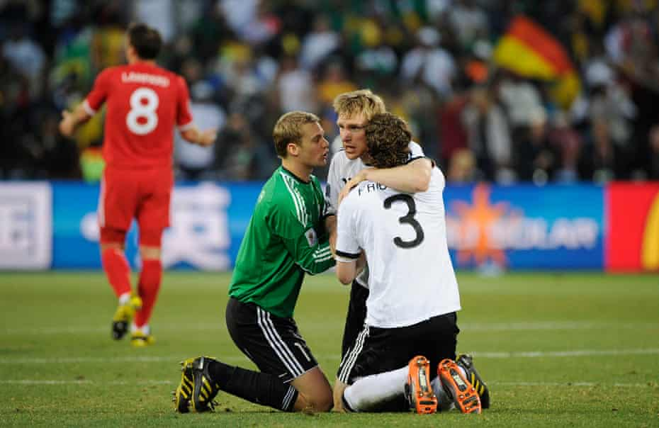 Germany's players enjoy beating England in the 2010 World Cup.