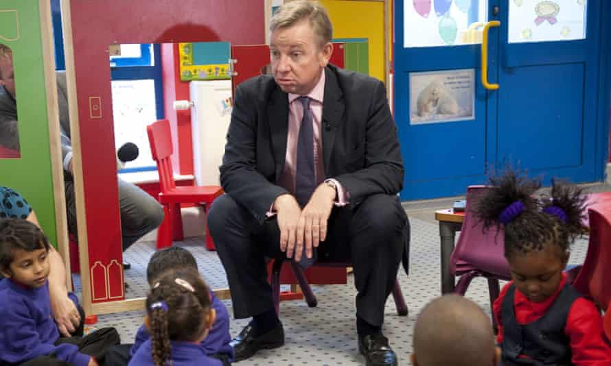 Michael Gove at a primary school.