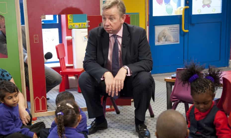 Gove and children in London school
