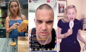 Florence Pugh, Robbie Williams and Madonna spending quarantine with Instagram.